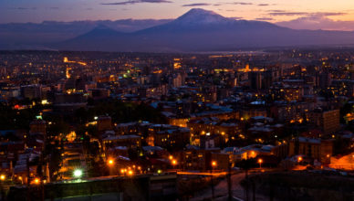 YEREVAN, ARMENIA (10/10/08)-The sun sets behind the legendary Mount Ararat and Yerevan, the 2,790 year-old capital city of Armenia.  ©Habitat for Humanity/Ezra Millstein